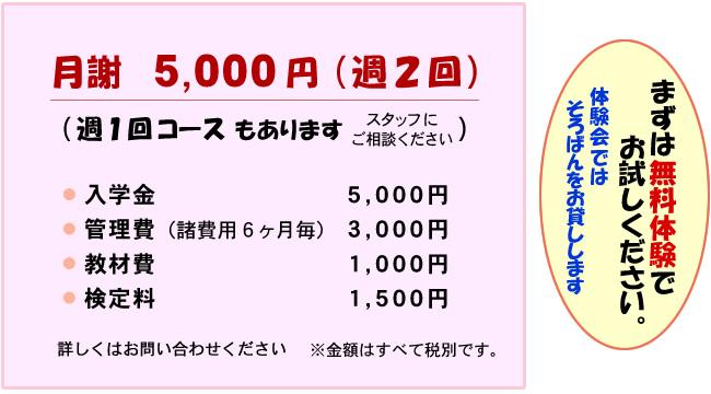 月謝5000円(週2回) 週1回コースもあります 入学金5000円 管理費(諸費用6ヶ月毎)3000円 教材費1000円 検定料1500円